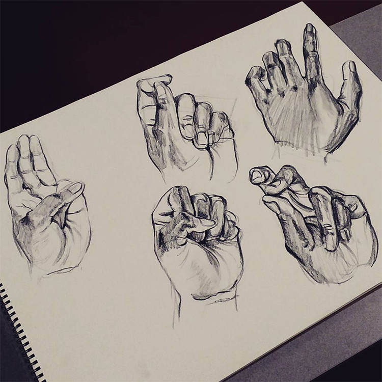 Dark hand finger drawings
