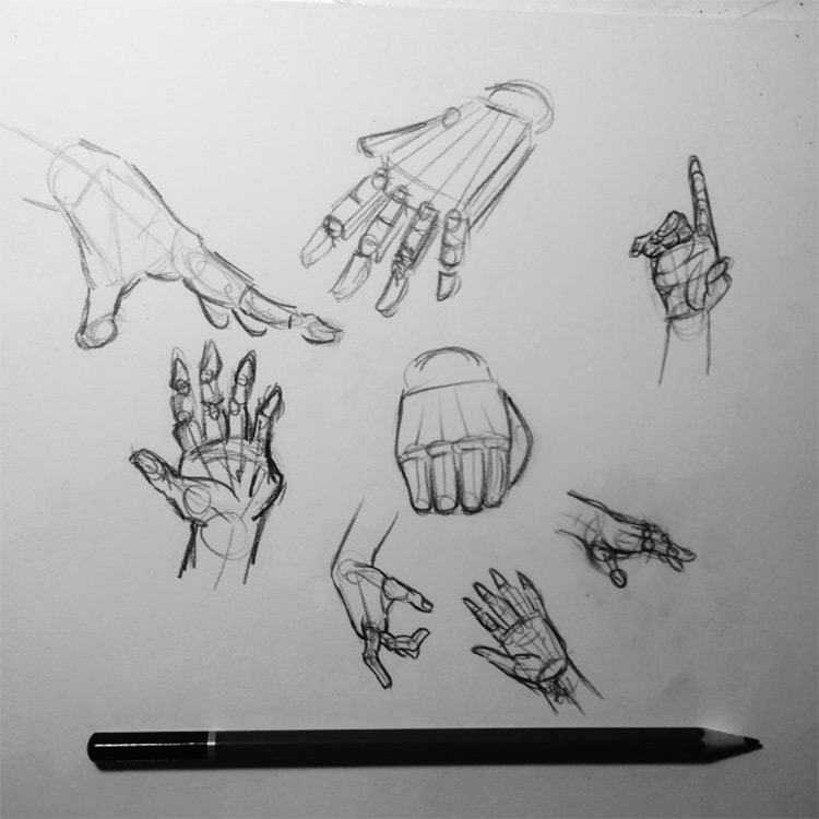 Hands with bones drawings
