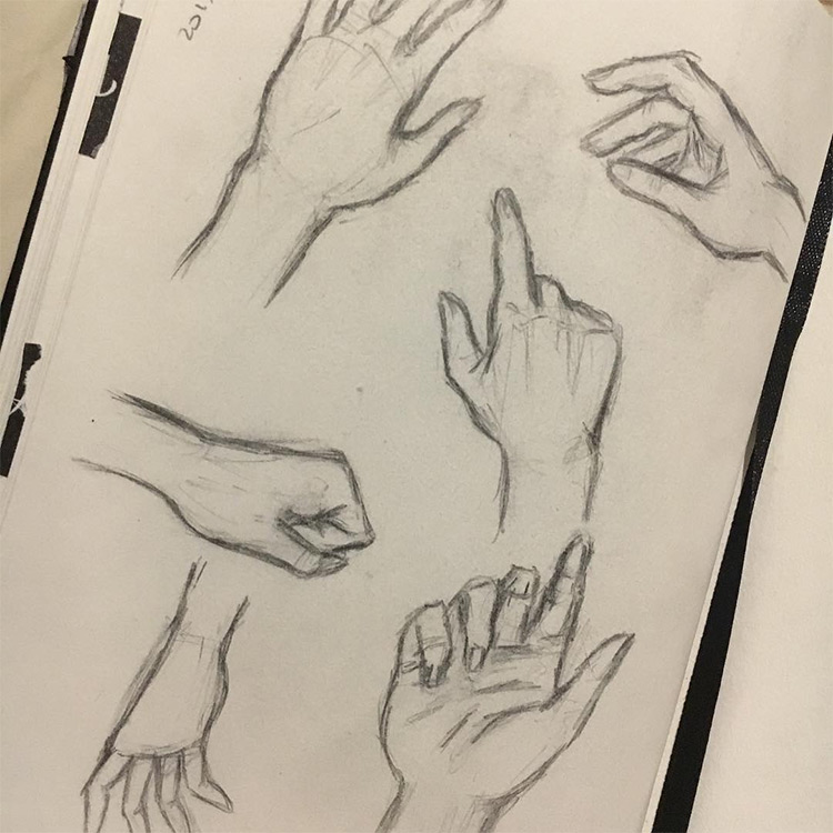 Simple sketches of hands