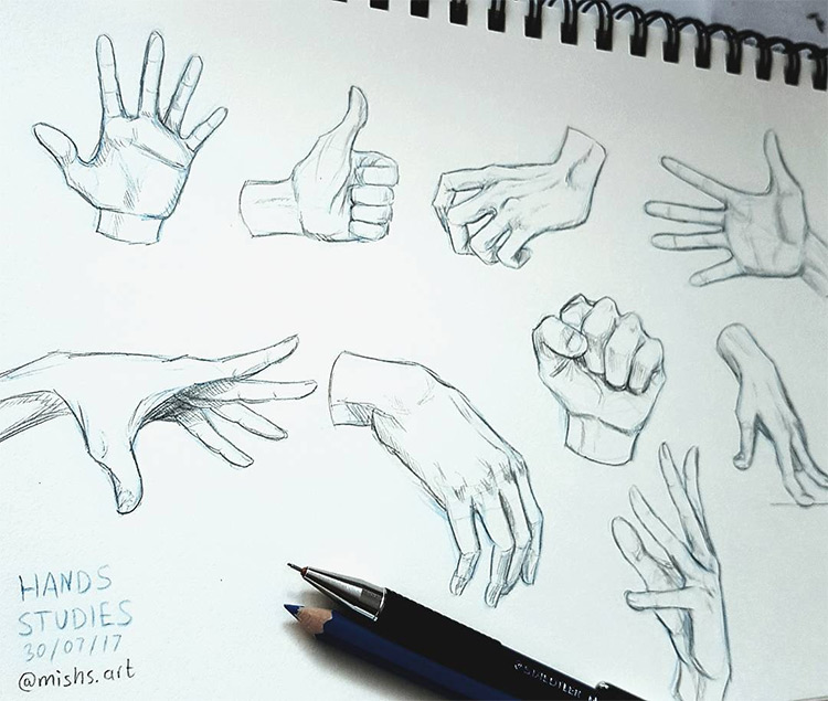 Sketchbook hand practice