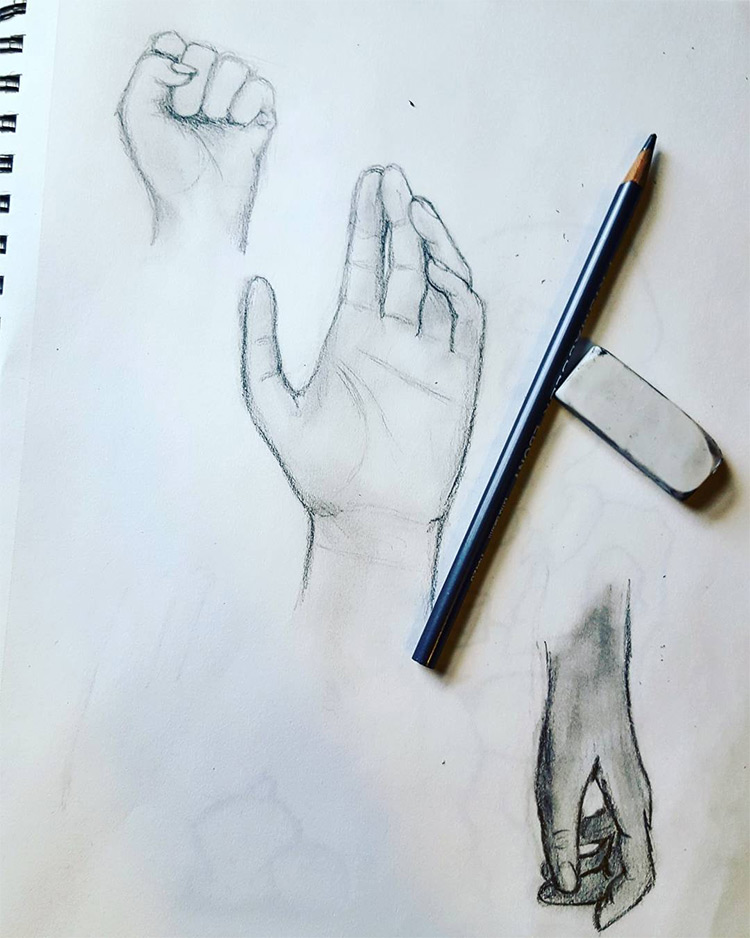 Realist sketchbook hands
