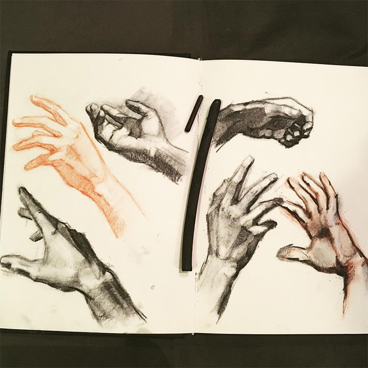 Black and orange hand sketches