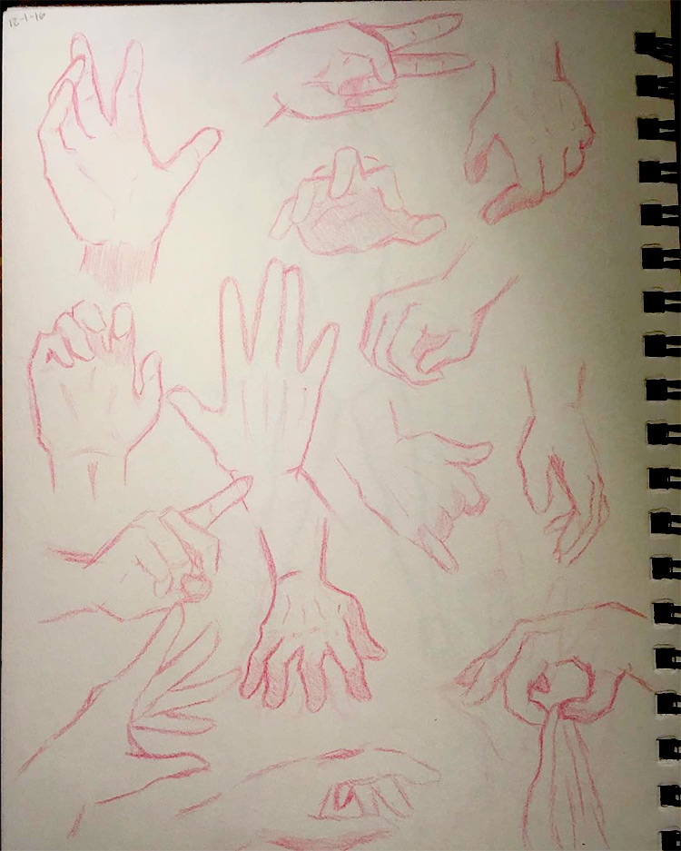 Red pencil hand sketches