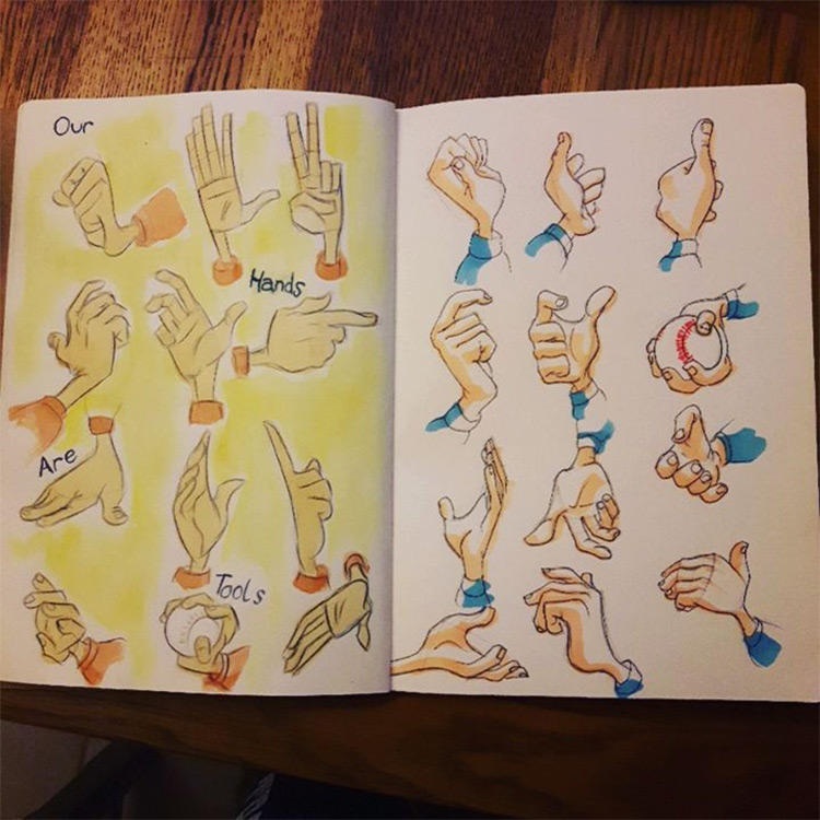 Colorful cartoon hand drawings