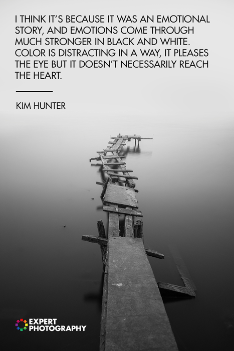 A photo of a broken pier overlayed with black and white quotes from Kim Hunter