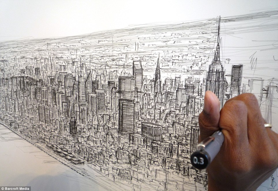 Stephen uses up to 12 pens and takes up to a week for each skyline