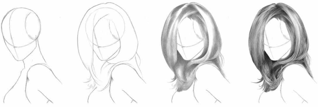 how to draw realistic hair in 4 simple steps