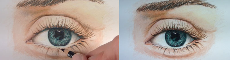 How to draw an eye with colored pencils.