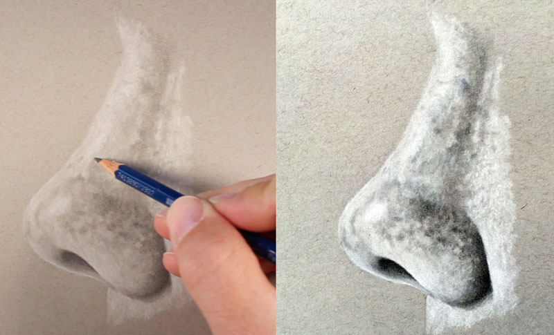 Finishing the drawing of a nose from the side view