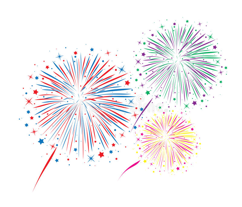 Vector abstract anniversary bursting fireworks. With stars and sparks on white background royalty free illustration