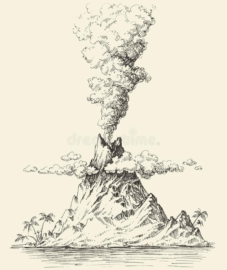Active volcano drawing. Volcanic eruption on a island vector stock illustration