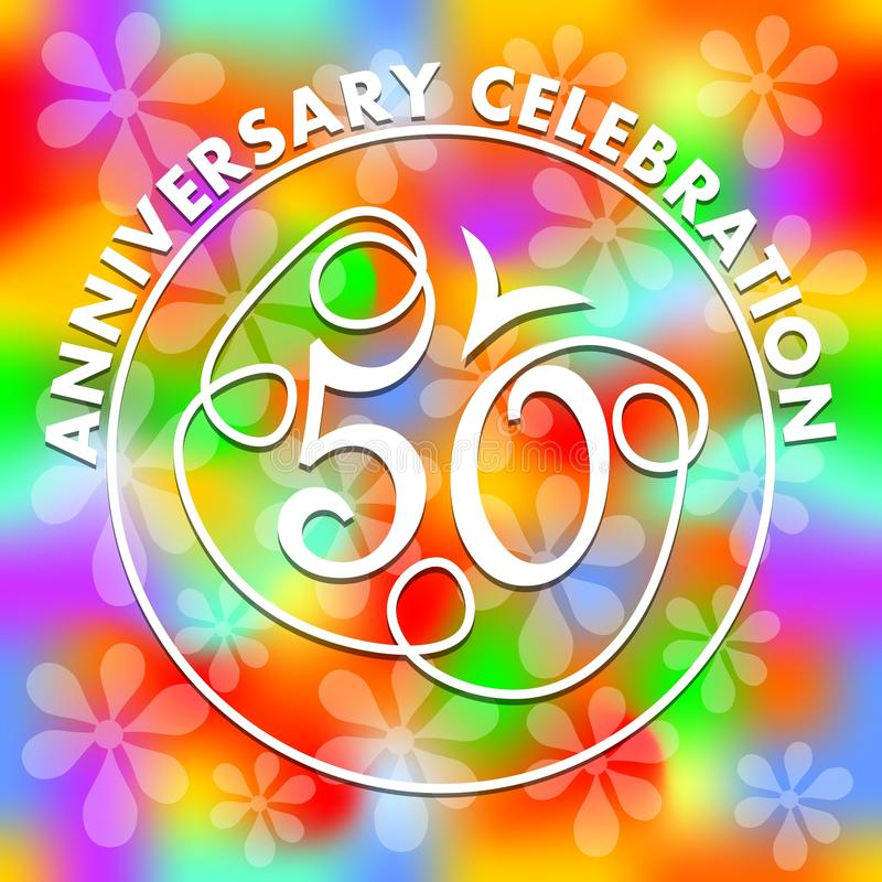Anniversary celebration on vivid rainbow psychedelic background. Monoline drawing on colorful background. Stylized number 50 for. Fiftieth birthday celebration vector illustration