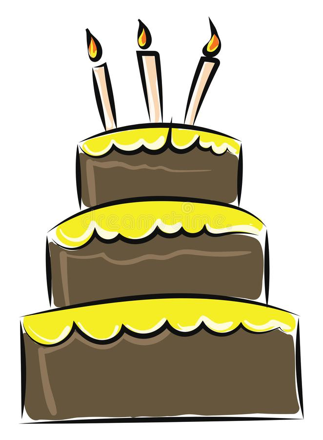Image of cake - birthday or anniversary cake, vector or color illustration. It is a birthday or anniversary cake for celebration of birthday or anniversary royalty free illustration