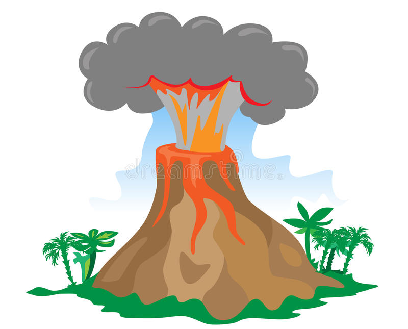 Cartoon exploding volcano. Exploding volcano on white background stock illustration