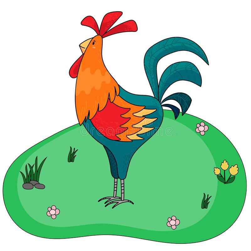 Cartoon cock, rooster. Farm cute animal. Vector illustration of cockerel. stock illustration
