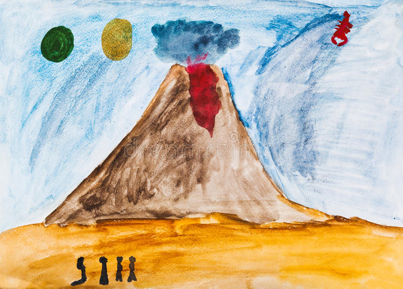 Children drawing - people near active volcano. In extraterrestrial world stock illustration
