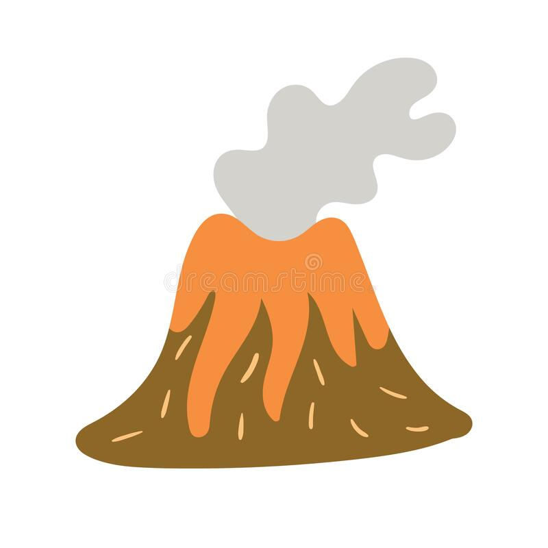 Children`s drawing of the volcano hand-drawn. Vector illustration vector illustration