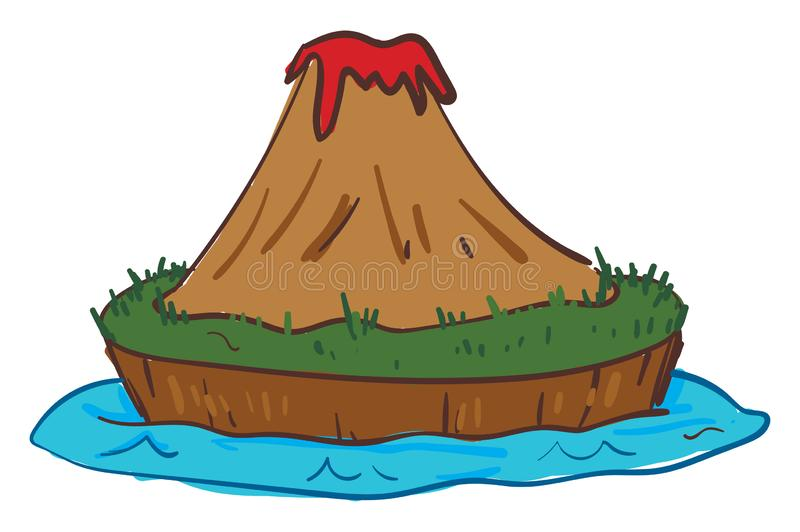 Clipart of island volcano eruption, vector or color illustration. Clipart of island volcano exploding in fiery when molten rock, ash, and steam pour through a royalty free illustration