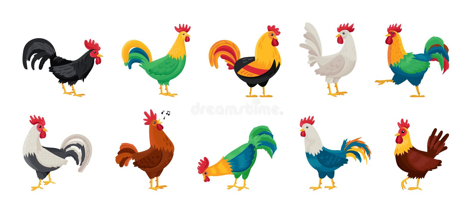 Cock of animal isolated cartoon set icon.Vector illustration set rooster cockerel.Vector cartoon icon cock of animal. stock illustration