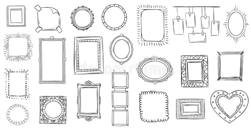Doodle frames. Hand drawn frame, square borders sketched doodles and picture frame drawing sketch isolated vector vector illustration