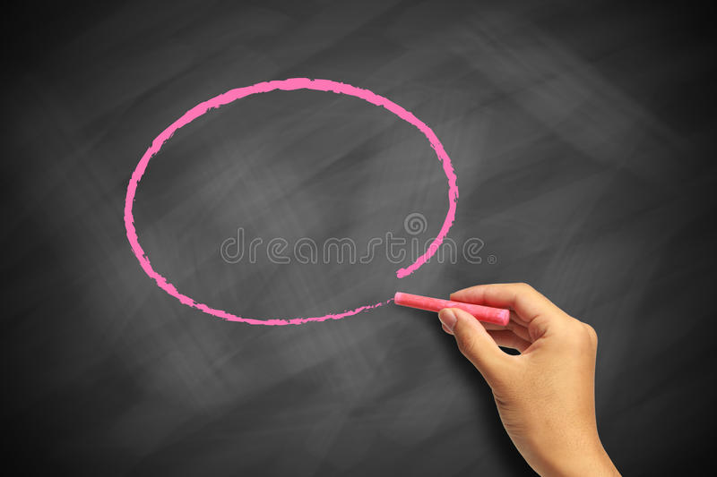 Drawing circle on blackboard stock images