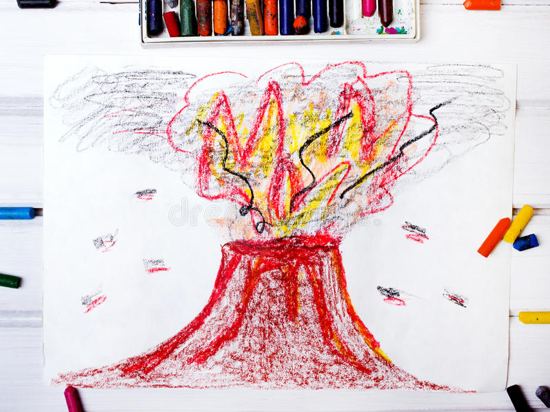 Drawing: erupting volcano. Photo of a colorful drawing: erupting volcano royalty free illustration