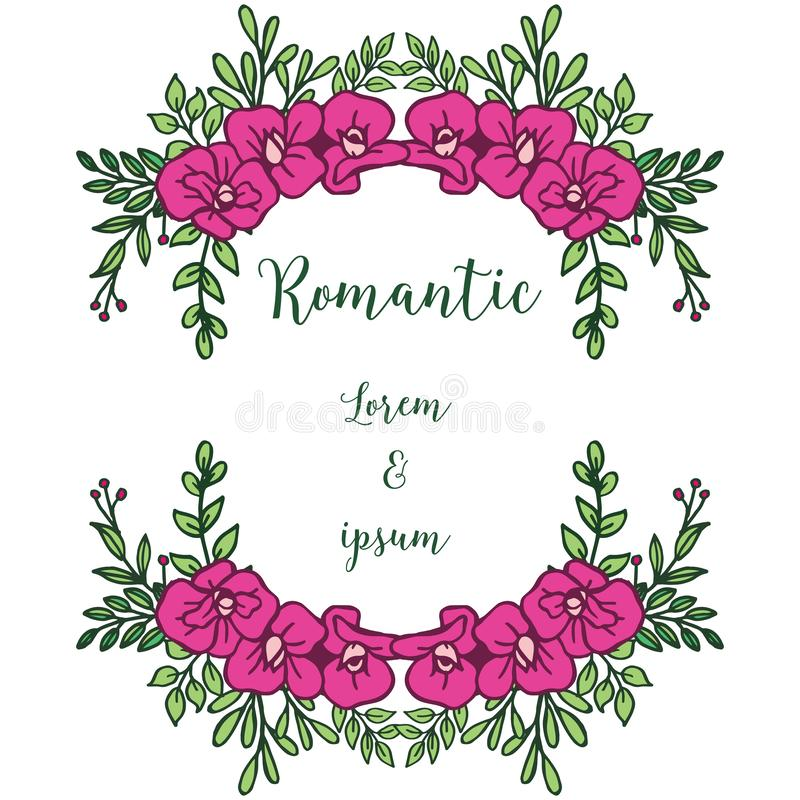 Drawing of pink flower frame vintage, for anniversary card romantic. Vector. Illustration royalty free illustration