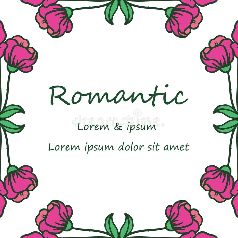 Drawing of pink flower frame vintage, for anniversary card romantic. Vector. Illustration vector illustration