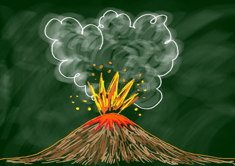 Drawing of volcano. On blackboard stock illustration