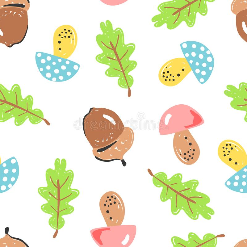 Forest simple sketh drawn by hand pattern with mushroom, acorn, oak, oak leaf, leaf seamless pattern. For wallpapers. Web background, textile, wrapping, fabric royalty free illustration
