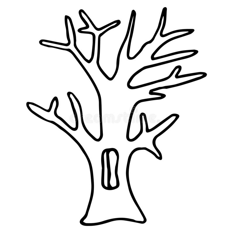 Hand drawn doodle tree. Simple black line. autumn Oak with flown leaves and hollow. Best for design of nature and children s coloring book. environment royalty free illustration