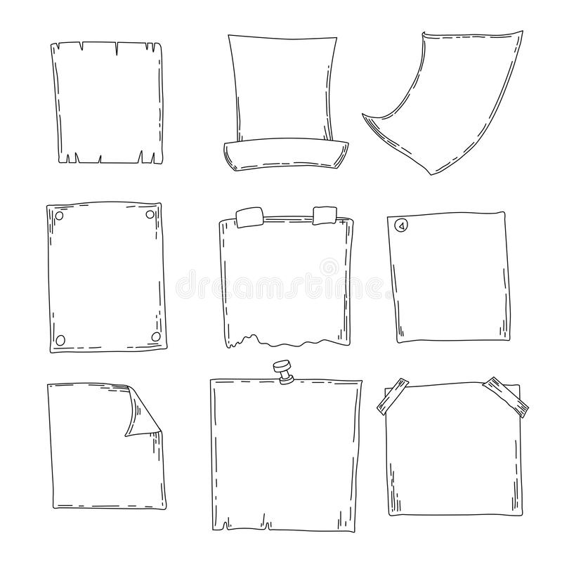 Hand drawn sheets of paper. Cartoon vector square borders. Pencil effect shapes isolated. royalty free illustration