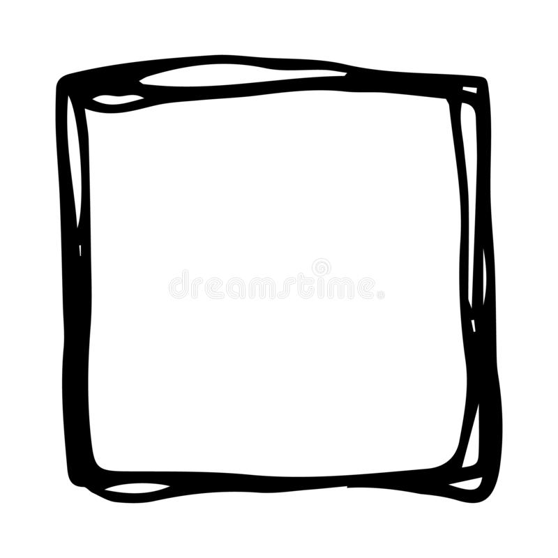 Hand drawn square doodle icon. Hand drawn black sketch. Sign cartoon symbol. Decoration element. Isolated on white background. royalty free illustration