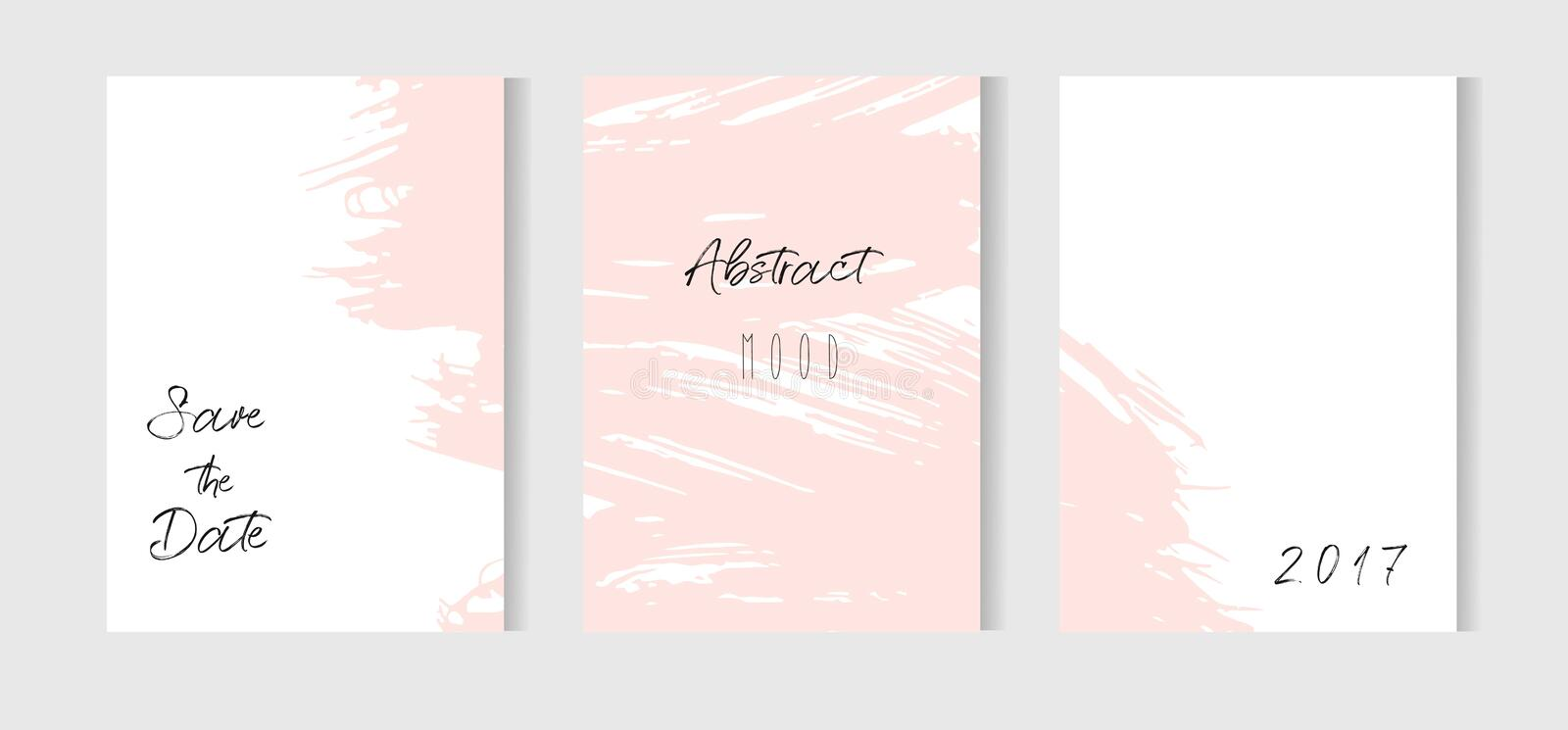 Hand drawn vector abstract creative unusual simple save the date cards template collection set with drawing textures in. Pastel pink colors.Boho Wedding royalty free illustration