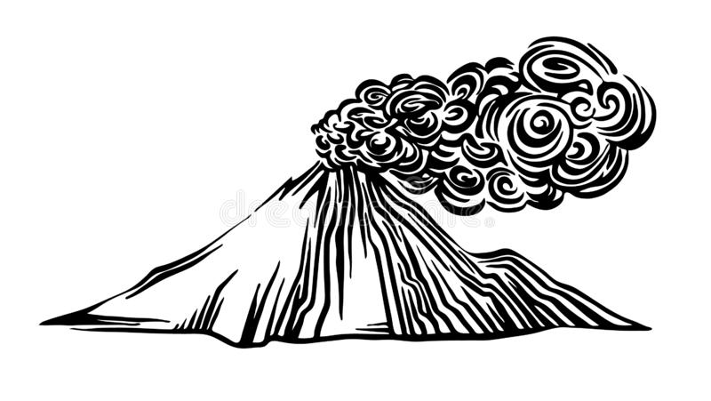 Hand drawn volcano eruption outline sketch. Vector black ink drawing isolated on white background. Graphic illustration. Hand drawn volcano eruption outline stock illustration