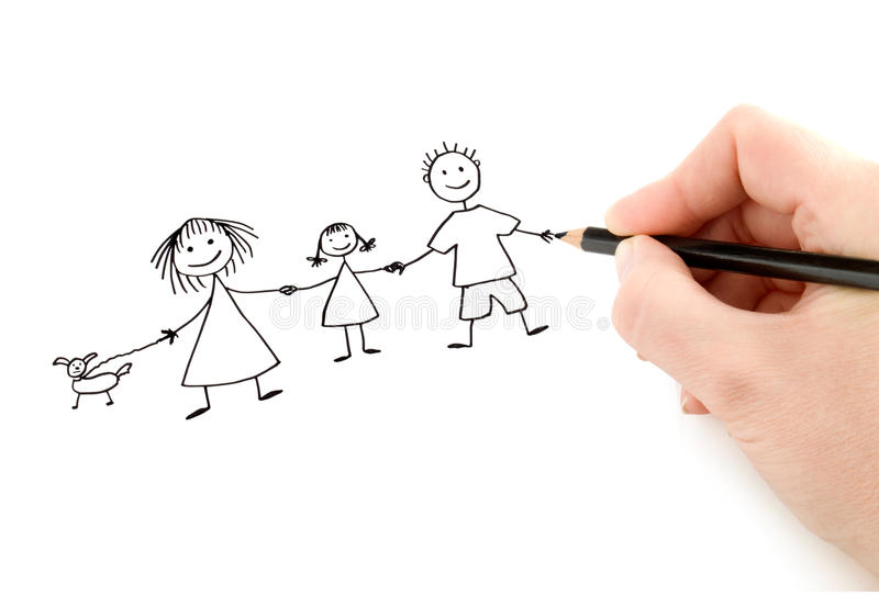 Hand with pencil drawing happy family royalty free stock photo