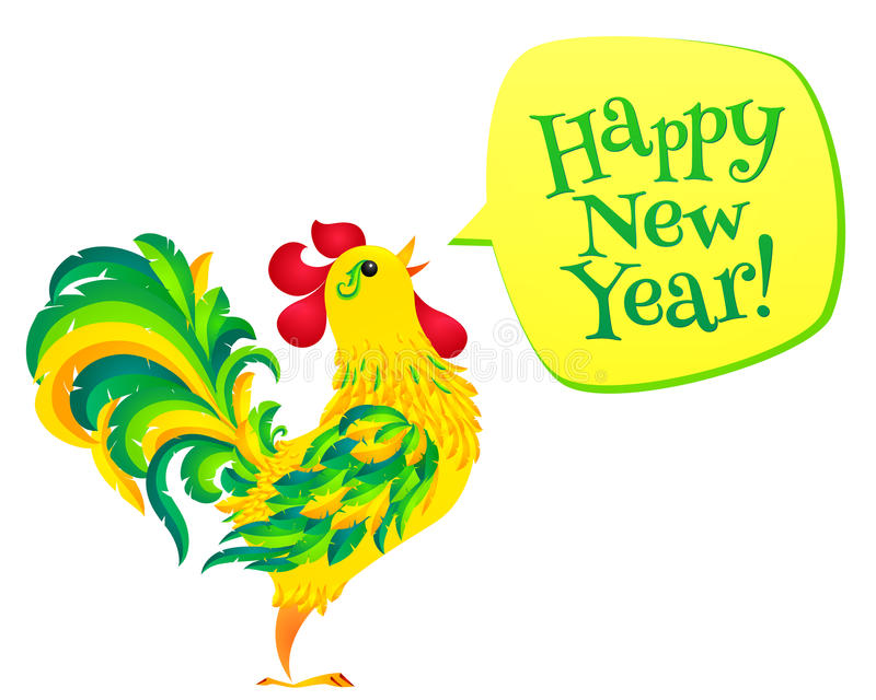 Happy New Year - vector cartoon style speech bubble with green holiday rooster. Chinese symbol of 2017 new year stock illustration