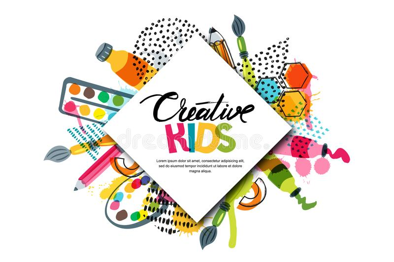 Kids art craft, education, creativity class. Vector banner, poster with white square paper background and lettering stock illustration