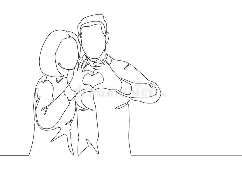 One continuous line drawing of young happy man and woman couple hands forming heart shape together. Romantic engaged anniversary. Concept single line draw vector illustration
