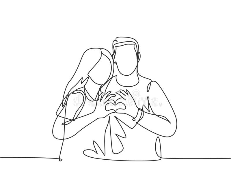 One continuous line drawing of young happy man and woman couple hands forming heart shape together. Romantic engaged anniversary. Concept. Modern single line vector illustration