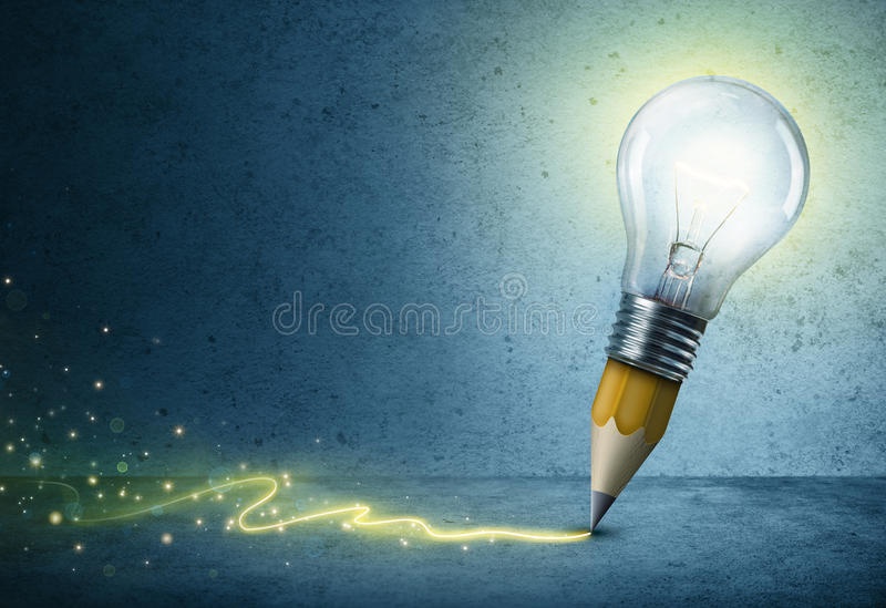 Pencil-Bulb Drawing Light stock photo