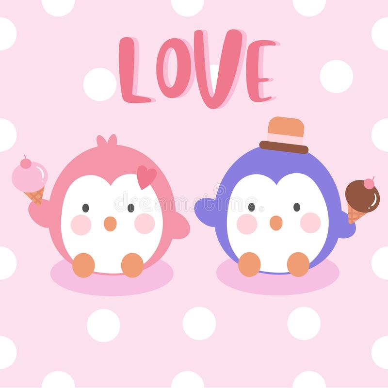 Penguins couple vector love valentine day card anniversary icecream summer holiday vector. Kawaii style with dot background. Perfect for kid`s greeting card royalty free illustration