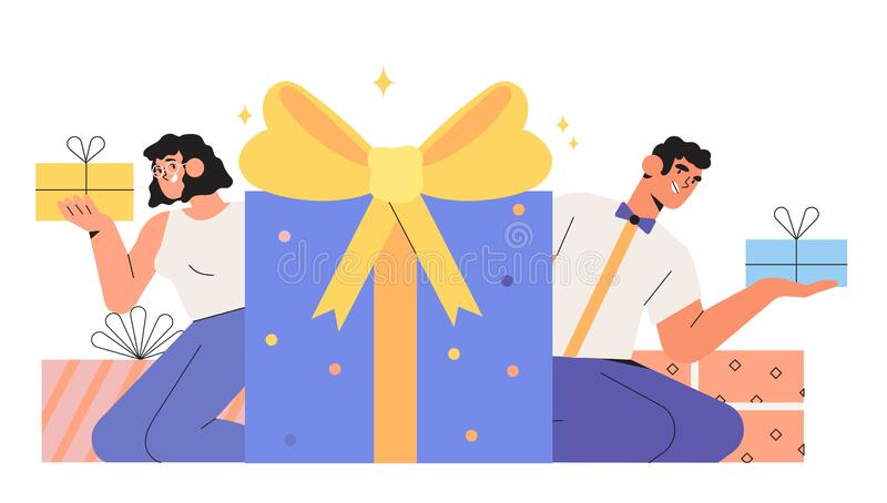 People holding gift box and celebrating birthday or anniversary. You won prize, winner or prize drawing. Group of happy smiling business people holding gift box vector illustration