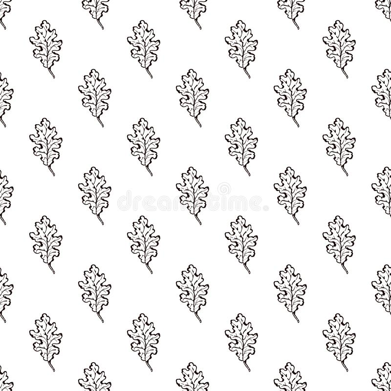 Seamless Pattern with Hand Drawn Oak Leaves. On white background. Suitable for packaging, wrappers, fabric design stock illustration