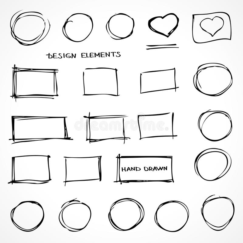 Set of Hand Drawn Scribble Design Elements royalty free illustration