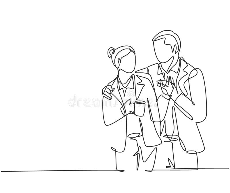 Single continuous line drawing of young happy romantic couple worker celebrate their anniversary after office hour. Wedding. Anniversary concept. Trendy one royalty free illustration