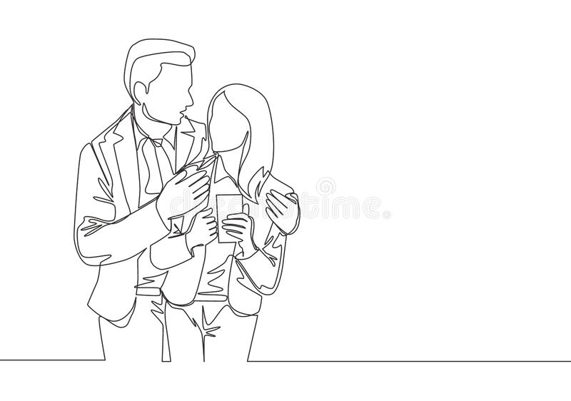 Single continuous line drawing of young happy romantic couple worker celebrate their anniversary after office hours. Wedding anniversary concept one line draw royalty free illustration