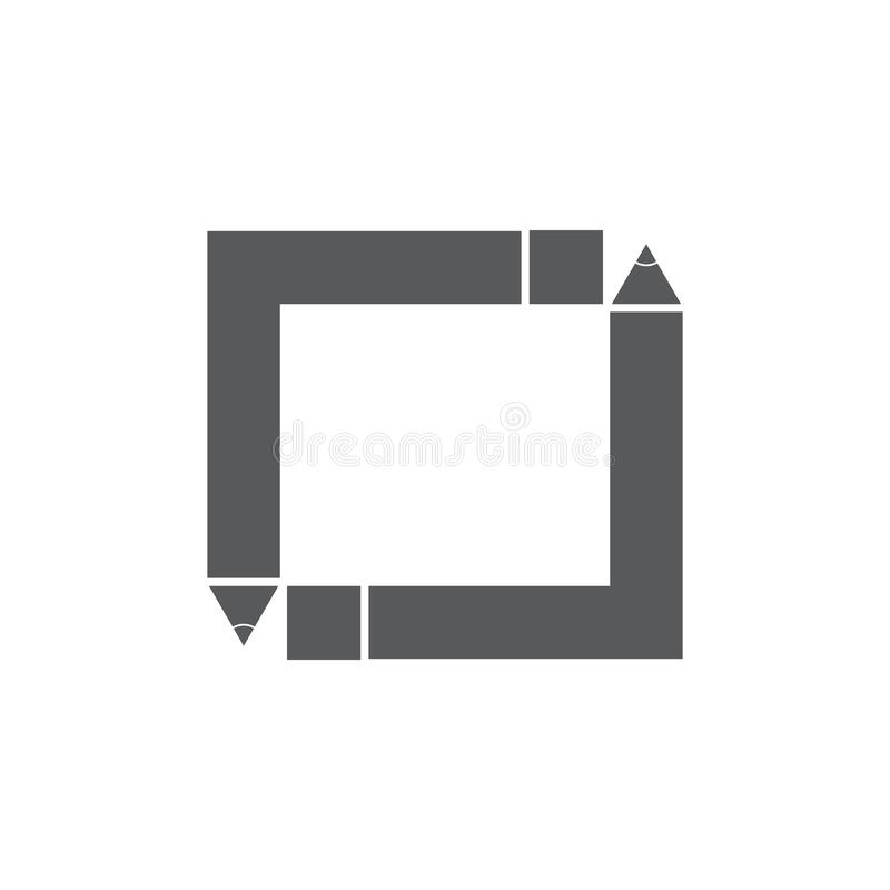 Square pencil logo frame education concept vector stock illustration