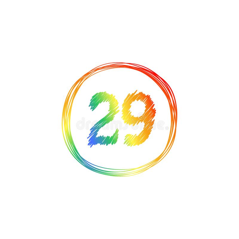 29th Anniversary celebration. Rainbow, multicolored number 29 in a round frame. Hand drawing one line. Tangled round scribble hand. 29th Anniversary celebration royalty free illustration