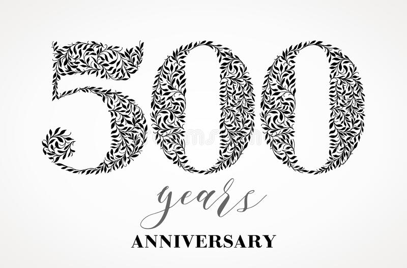 500th anniversary. Number five hundred consists of a sheet drawing. No gradient fill. Vector is easy to customize vector illustration